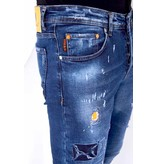 TRUE RISE Stoere Heren Jeans met Paint Drops  - Slim Fit - 52-01B - Blauw