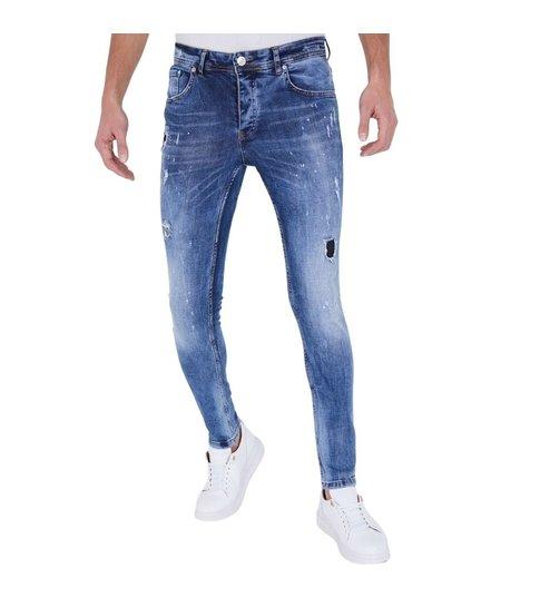 TRUE RISE Stoere Heren Jeans met Paint Drops  - Slim Fit - 5301D - Blauw