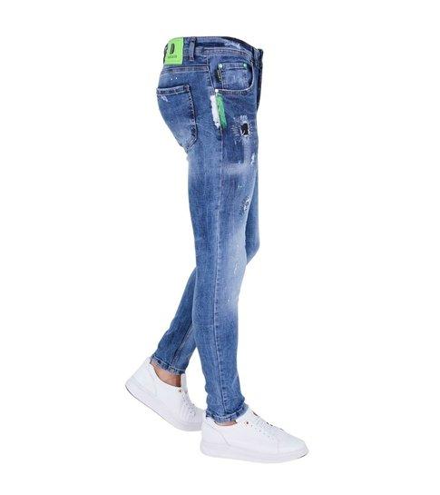 TRUE RISE Exclusive Paint Drops Heren Jeans - Slim Fit - 5301E - Blauw