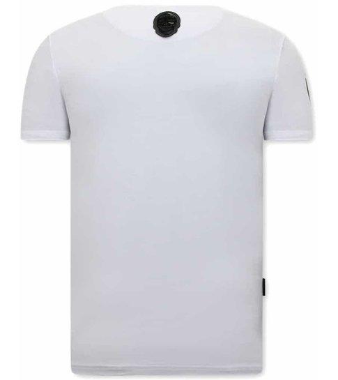 Local Fanatic Narcos Plata O Plomo T-shirt Heren  - Wit