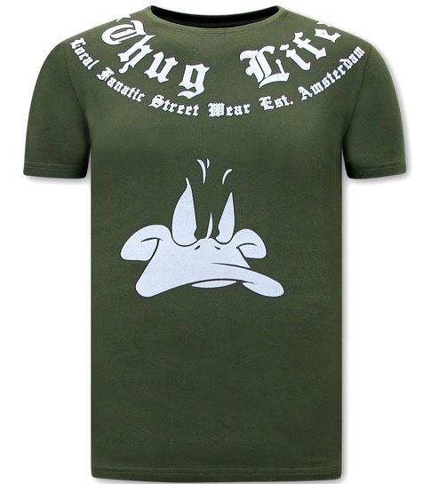 Local Fanatic T shirt Korte Mouw Heren  - Thug Life - Groen