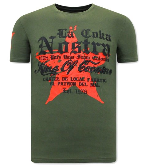 Local Fanatic Heren T-shirt King of Cocaines  - La Coka Nostra - Groen