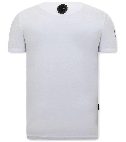 Local Fanatic Stoere Mannen T shirts - Straight Outta Ghetto - Wit
