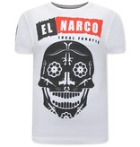 Local Fanatic Heren Shirts met Print - El Narco  - Wit