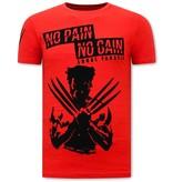 Local Fanatic T shirt met Print Heren  - Wolverine  T shirt X Man - Rood