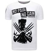 Local Fanatic Print Shirt Heren  - Wolverine  T shirt X Man - Wit