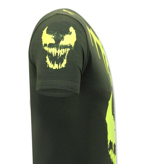 Local Fanatic Heren T shirts met Print  - Venom Face Neon  - Groen