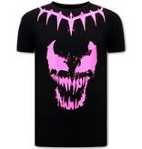 Local Fanatic T shirt met Opdruk Heren  - Venom Face Neon  - Zwart