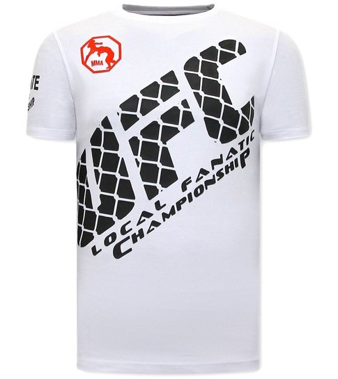 Local Fanatic T shirts Print Heren  - UFC - Wit