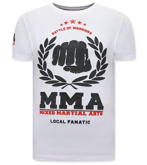 Local Fanatic  T-shirt Heren met Print - MMA Fighter - Wit
