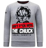 Local Fanatic Heren Sweater met Print - Chucky - Grijs