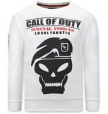 Local Fanatic Heren Sweater met Print - Call Of Duty - Beige