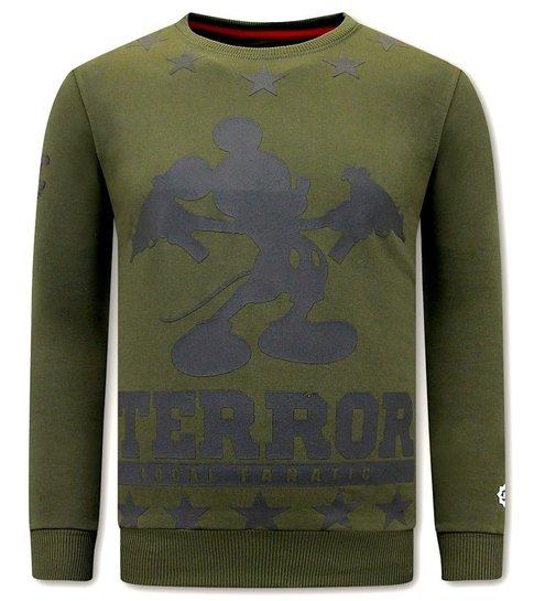 Local Fanatic Heren Sweater met Print - Terror Mouse - Groen