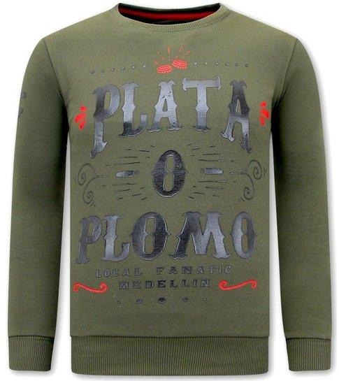 Local Fanatic Heren Trui met Print - PLATA O PLOMO - Groen