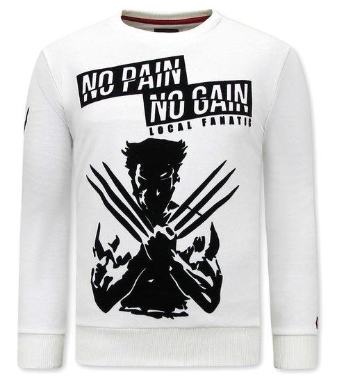 Local Fanatic Heren Sweater met Print - Wolverine - Beige