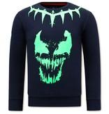 Local Fanatic Heren Sweater met Print -Venom Face Neon - Blauw