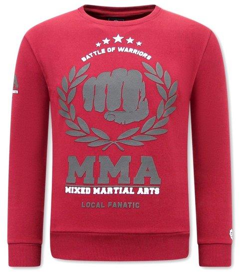 Local Fanatic Heren Sweater met Print - MMA Fighter  - Bordeaux