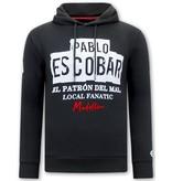 Local Fanatic Hoodie Heren Print - Pablo Escobar - Zwart
