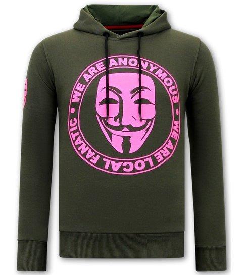 Local Fanatic Hoodie Heren Print - We Are Anonymous - Groen