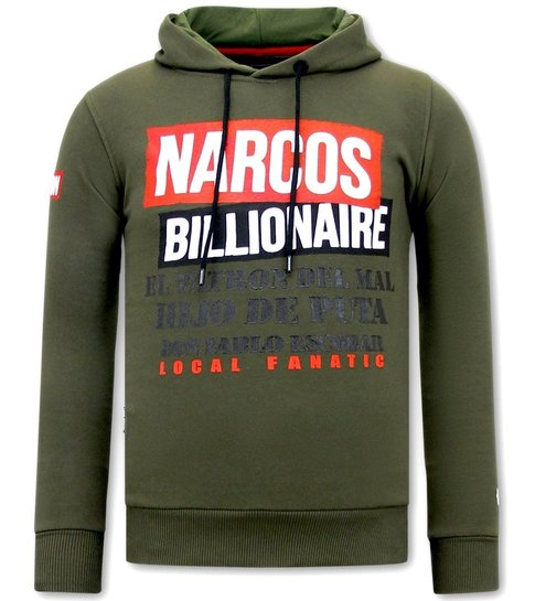 Local Fanatic Hoodie Heren Print - Narcos Billionaire  - Groen