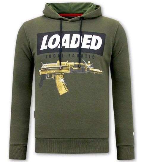 Local Fanatic Hoodie Heren Print - Loaded Gun - Groen