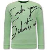 TONY BACKER Heren Sweater met Tekst -Groen / Mint