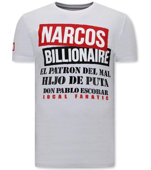 Local Fanatic Mannen t shirt met Print - Narcos - Wit