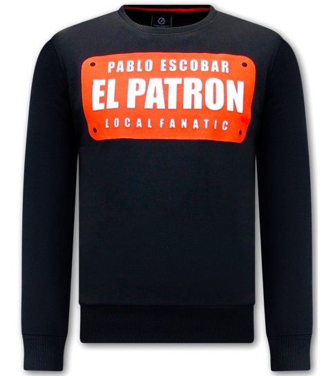 Local Fanatic Heren Sweater - Pablo Escobar EL Patrom - Zwart