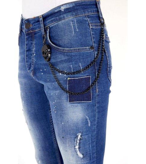 LF Exclusieve  Slim fit Jeans Verfspatten Heren  - 1035 - Blauw