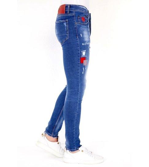 LF Exclusieve  Spijkerbroek met Verfspetters - 1030 - Blauw