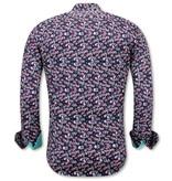 TONY BACKER Luxe Satijn Heren Overhemd Bloemen Print - 3076NW - Zwart / Turquoise