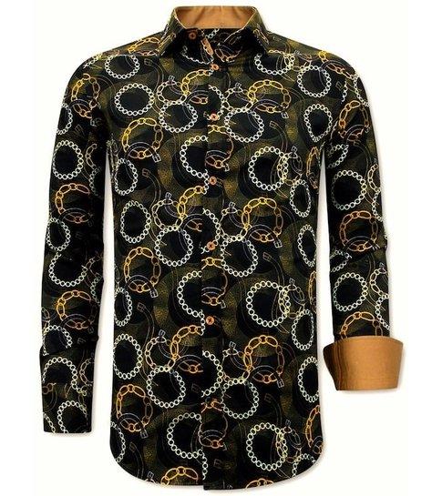 TONY BACKER Luxe Satijn Overhemd Heren Print - 3078NW - Zwart / Bruin
