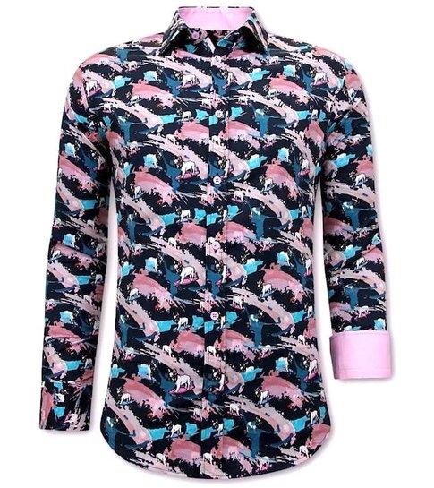 TONY BACKER Luxe Satijn Overhemd Heren - 3075NW - Navy / Rooze