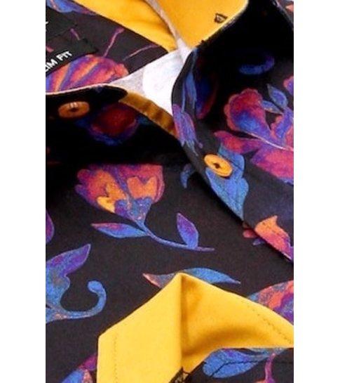 TONY BACKER Luxe Satijn Overhemd met Print- 3074NW - Navy / Orange