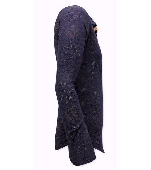TONY BACKER Stretch Overhemd Heren - Slim Fit - 3069NW - Navy