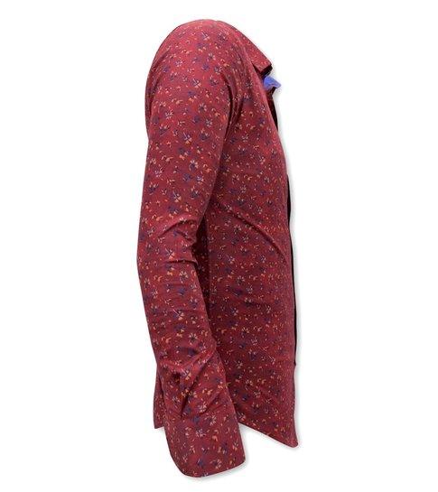 TONY BACKER Blouse met Print Heren - Slim Fit - 3064 - Bordeaux