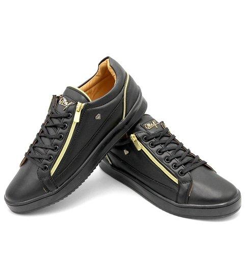 Cash Money Heren Sneakers - Zippers Black - CMS97 - Zwart