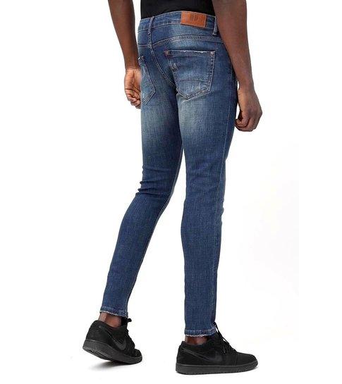 TRUE RISE Skinny Basic Jeans - Man Spijkerbroek Washed - D3021 - Blauw