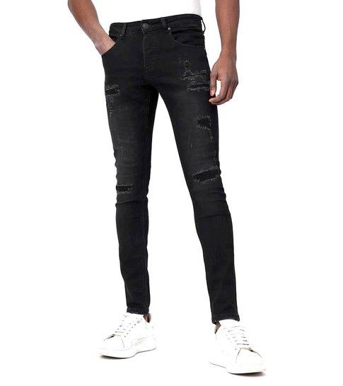 TRUE RISE Zwarte Skinny Jeans met Scheuren Heren - D-3132 - Zwart