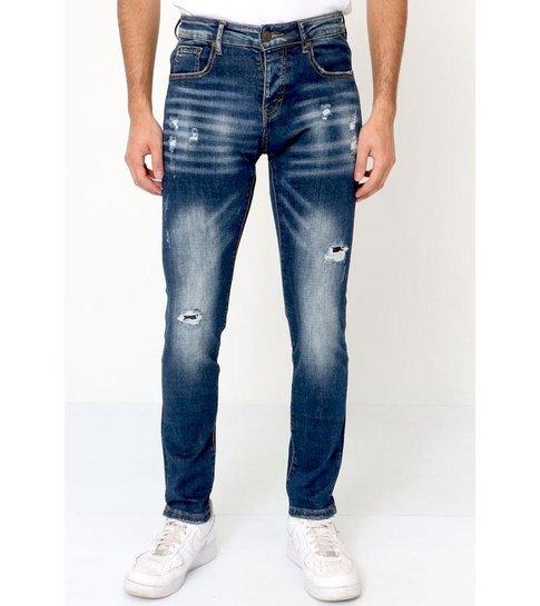 TRUE RISE Ripped Jeans Stretch Heren Slim fit - D-3134 - Blauw