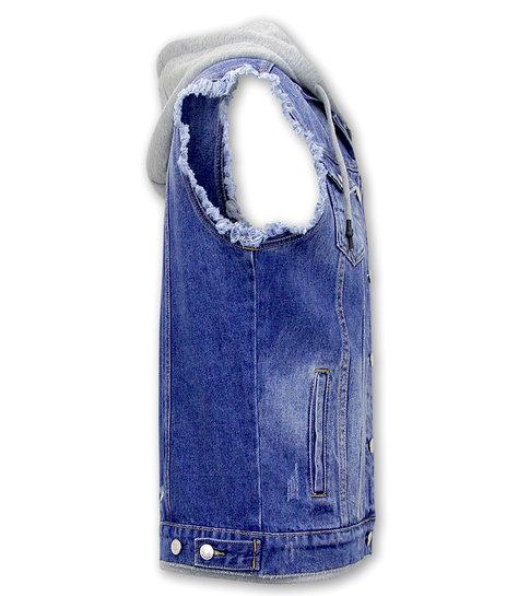Enos Mouwloos Spijkerjasje met Capuchon - RJ9103 -  Blauw