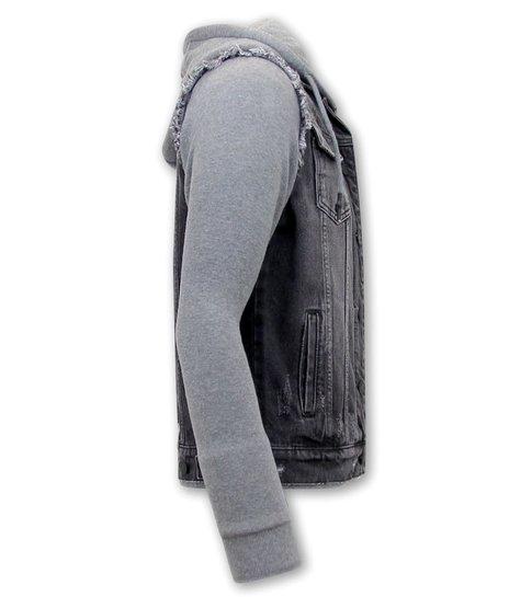 Enos Spijkerjas met Stoffen Mouwen - RJ9102 - Zwart