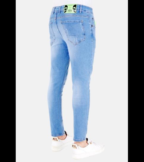 LF Exclusieve  Lichtblauwe Jeans met Verfspatten - 1027- Blauw