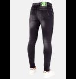 LF Exclusieve Zwarte Jeans met Verfspatten Heren - 1029- Zwart