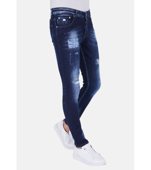 TRUE RISE Paint Drops Heren Jeans - Slim Fit - 5201D - Blauw