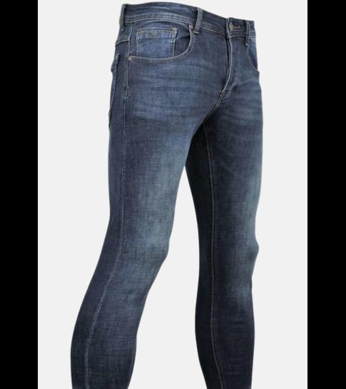 TRUE RISE Classic Jeans Heren - Spijkerbroek Washed - D3060 - Blauw