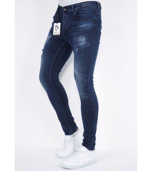 TRUE RISE Heren Spijkerbroek met Gaten Slim fit - DP/S-25 -Blauw