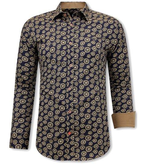 TONY BACKER Luxe Satijn Overhemd Fiets Print - 3094 - Bruin