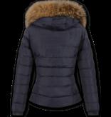 Style Italy Bontjassen - Dames Winterjas Kort - Bontkraag - 2 Ritsen - Blauw
