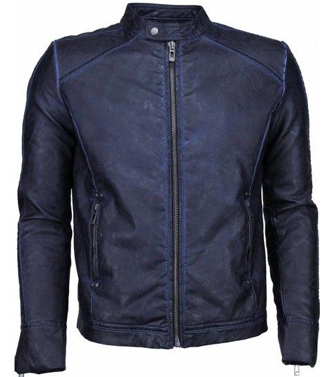 ENOS Imitatie Leren Jas - Kunstleer Heren Jack - Street Wear - Blauw/Zwart